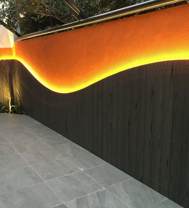 back lit feature wall
